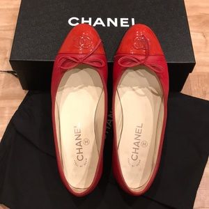 Chanel Ballerinas Flat Goatskin with Patent